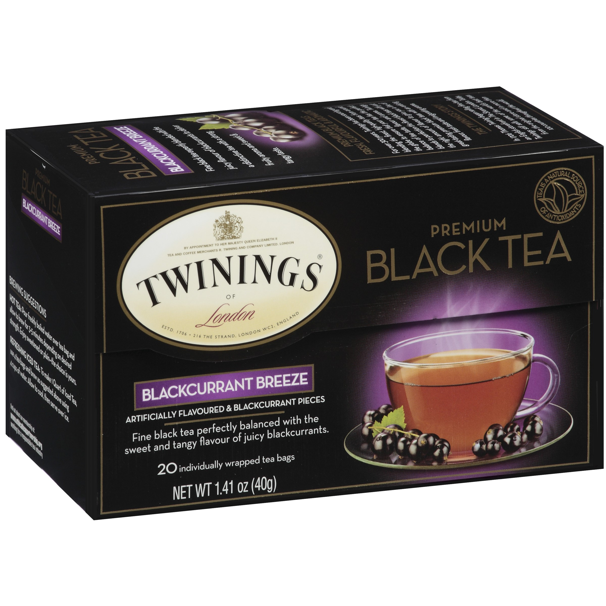 Twinings Premium Blackcurrant Breeze Black Tea 20 Tea Bags