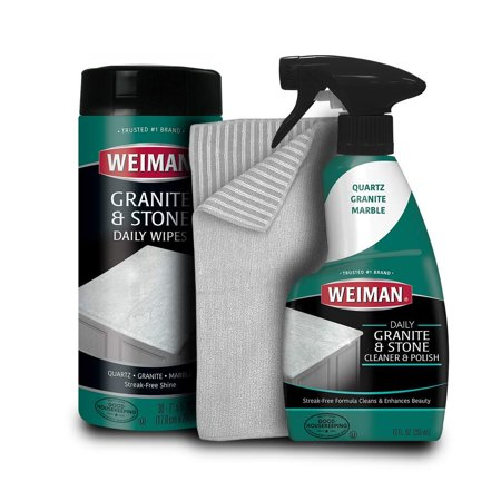 Weiman Granite Cleaner Kit - Non Toxic For Granite Marble Soapstone Quartz Quartzite Slate Limestone Corian Laminate Tile Countertop Wipes, Trigger & Microfiber