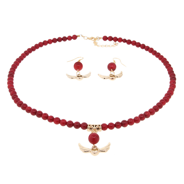 """18"""" Round 6mm Red Simulated Coral Gold Heart and Angel Wings Necklace and Earrings Set by"""