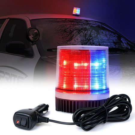 Xprite Red/Blue 12 LED 6W LED Magnetic Mount Strobe and Rotating Beacon