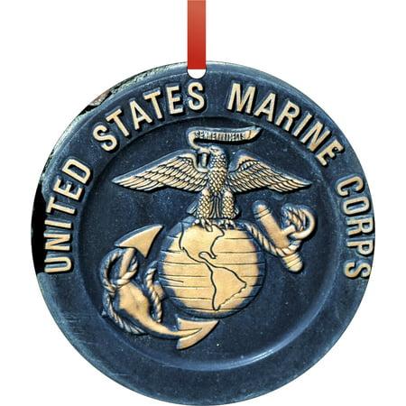 Colts Decorations (U.S. Marines - United States Marine Corps - Round Shaped Flat Semigloss Aluminum Christmas Ornament Tree Decoration - Unique Modern Novelty Tree Décor)