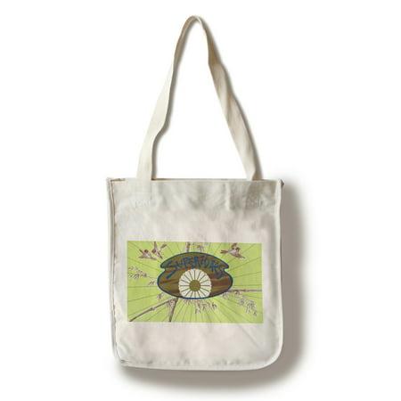 Bamboo Tote Bag (Flor Fina Superiores Brand Cigar Box Label - Asian (View of Birds in Bamboo) (100% Cotton Tote Bag - Reusable) )