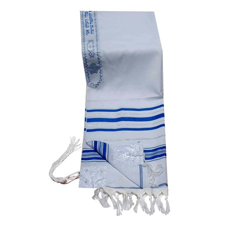 """Talitnia Acrylic Tallit (Imitation Wool) Prayer Shawl Blue and Silver Stripes in Size 24"""" Long and 72"""" Wide"""