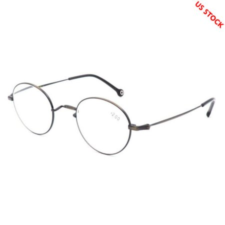 Mens Womens Reading Glasses Round Light Weight Readers Designer Metal +1.0~+3.5 - Silver - +1.50 (Round Reader Glasses)