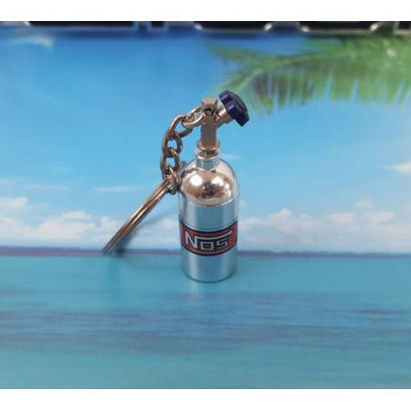 NOS Mini Silver Nitrous Oxide Systems Turbo Bottle Keychain Keyfob Storage