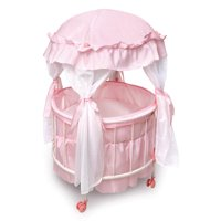 "Badger Basket Royal Pavilion Round Doll Crib with Canopy and Bedding - Pink/White - Fits American Girl, My Life As & Most 18"" Dolls"