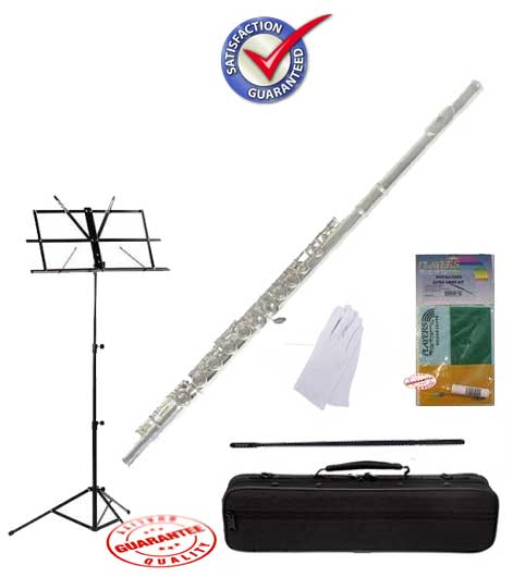 Fever Nickel C Flute Closed Hole School Package with Case, Music Stand, and Cleaning Kit by Fever