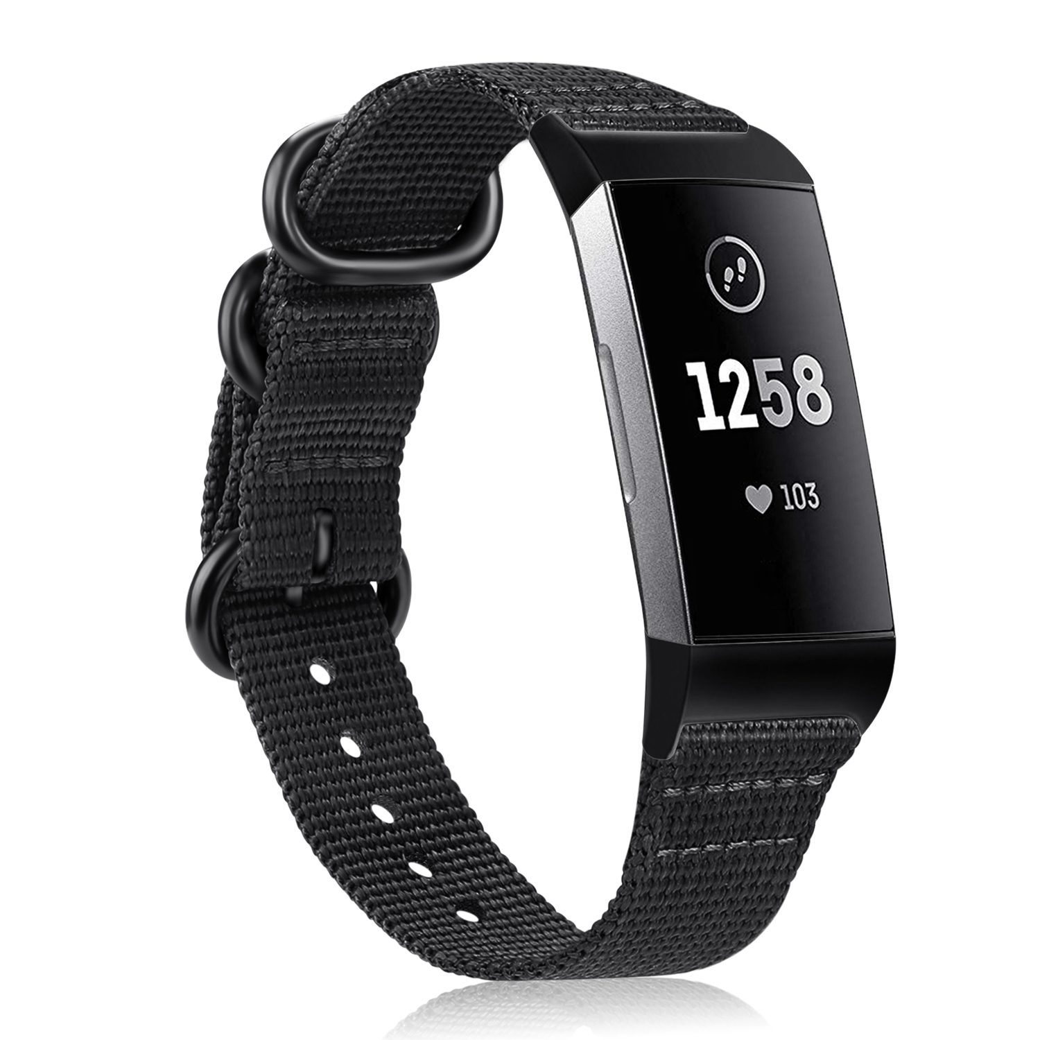 Fintie Bands for Fitbit Charge 3 SE Fitness Activity Tracker, Soft Woven Nylon Sports Band Replacement Strap Black
