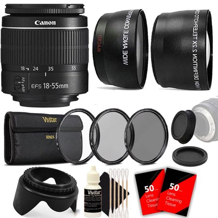 Canon EF-S 18-55mm III f3.5-5.6 Camera Lens with Fisheye and Telephoto Lens Attachments, Tulip Lens Hood, Replacement Camera Front and Rear Lens Caps for Canon Digital