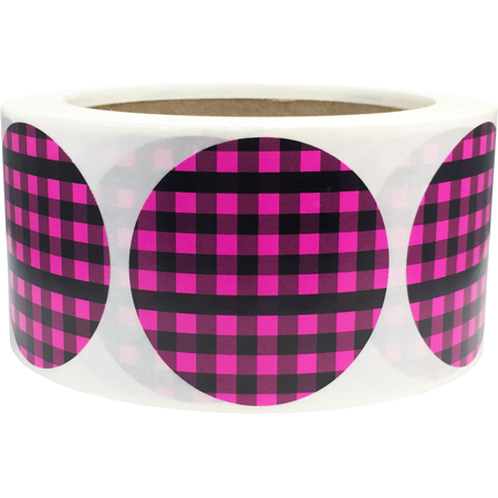 Pink Buffalo Plaid Color Coding Labels Round Circle Dots 2 Inch 500 Total Adhesive Stickers