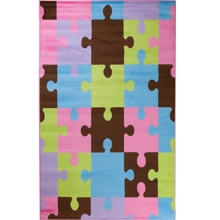 Concord Global Trading Alisa Collection Jigsaw Puzzle Area Rug