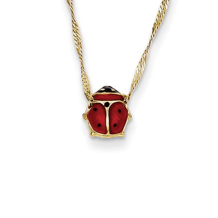 14k Gold Enameled Ladybug Necklace - Spring Ring