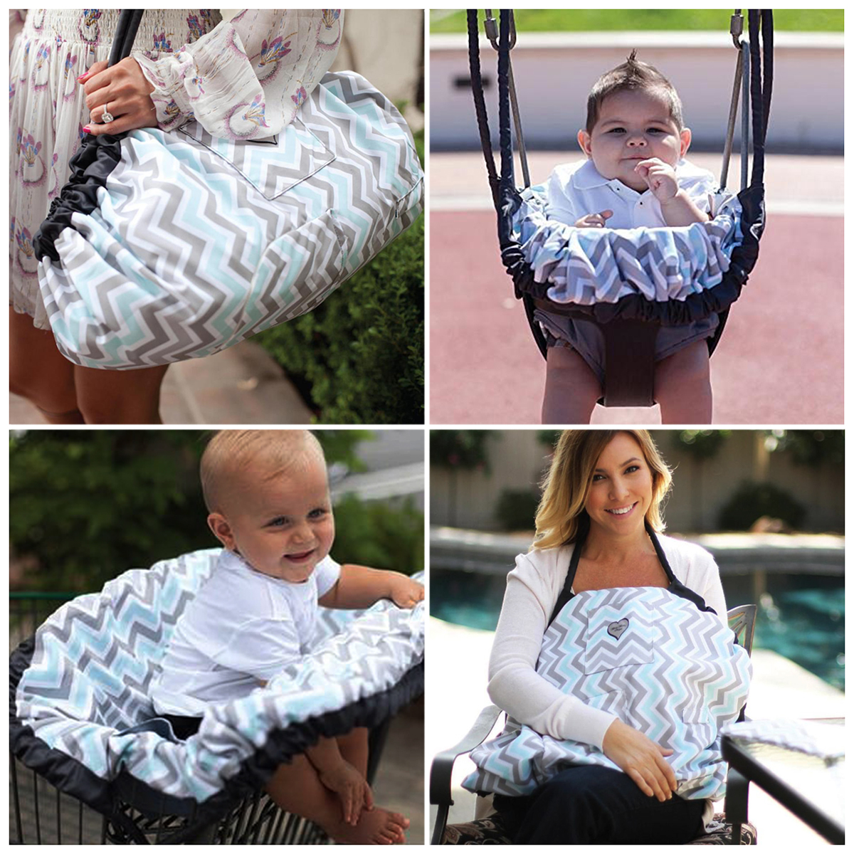 Maya & Max 6-In-1 Cover Tote Bag, Baby Mat, Breastfeeding Nursing Cover, Play Mat for, High Chair Swing and Car Seat Cover For Infants