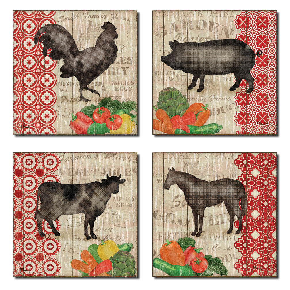 Farmers Market Cow Pig Horse Rooster; Country Decor; Four 8x8in Poster Prints