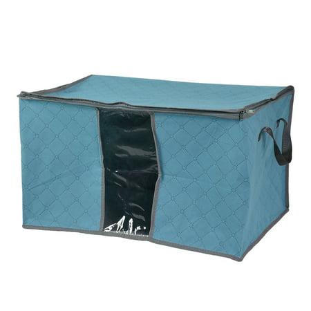 Unique Bargains Quilt Blanket Clothing Storage Zipper Bag Case Container Box Blue for Home Essential (Quilting Basket)