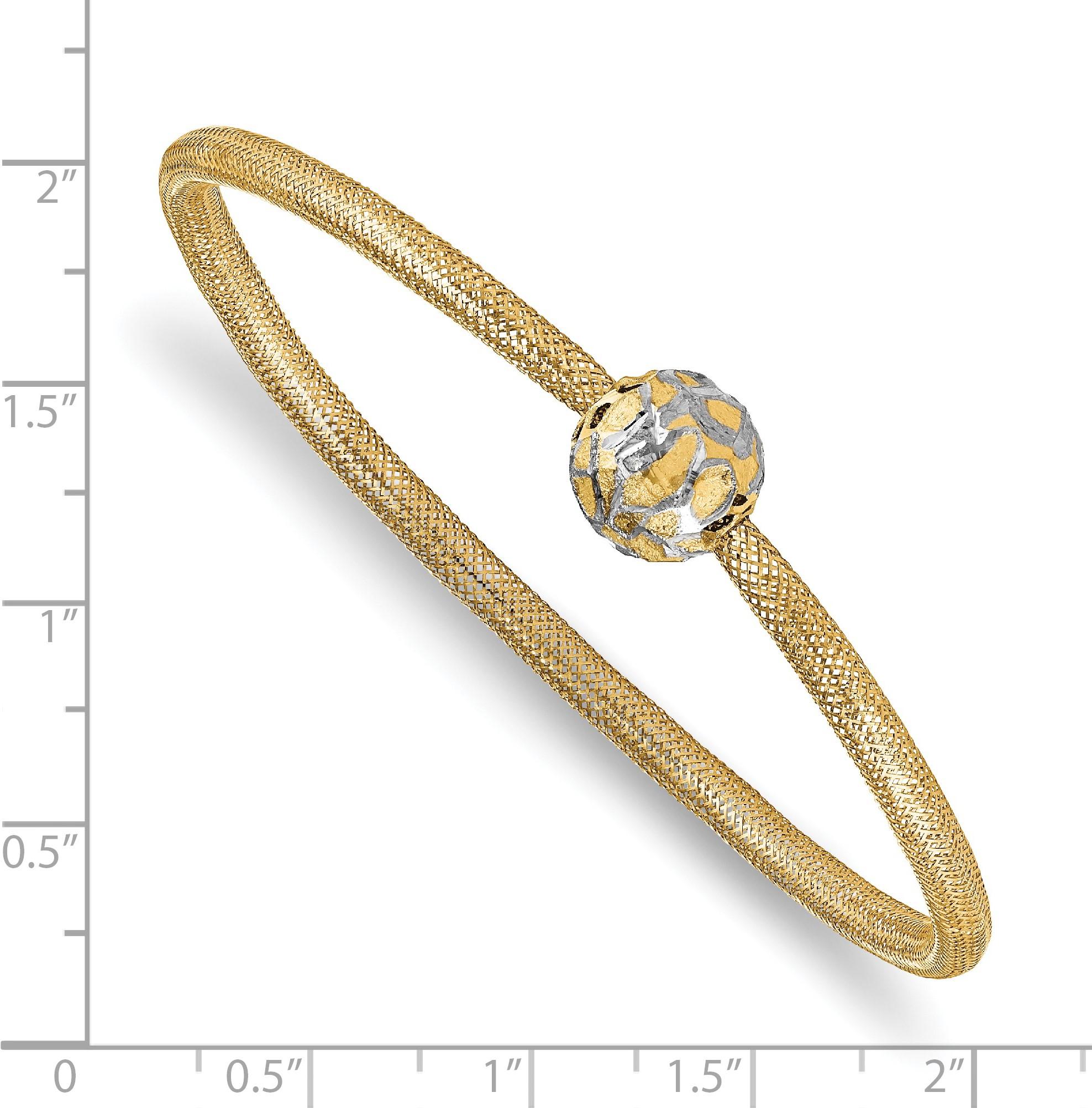 Leslie's 14K & White Rhodium Polished D/C Mesh Slip On Bracelet - image 1 de 2