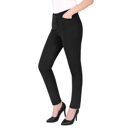 HDE Women's Relaxed Fit Straight Leg Ankle Length Comfort Stretch Trouser Pants (Black, 10)