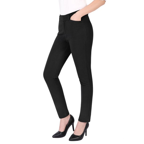 Black Slacks : HDE Women's Relaxed Fit Straight Leg Ankle Length Comfort Stretch Trouser Pants (Black, 10)