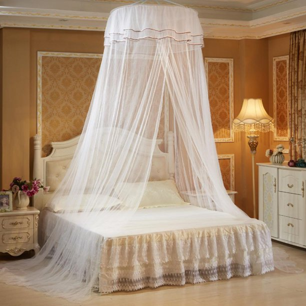 Girls Princess Mosquito Net Round Bed, Queen Size Bed Hanging Canopy