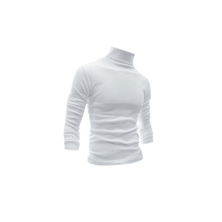 55f9a4ca5 Men Long Sleeve Turtle Neck Slim Fit Casual T-Shirts White L