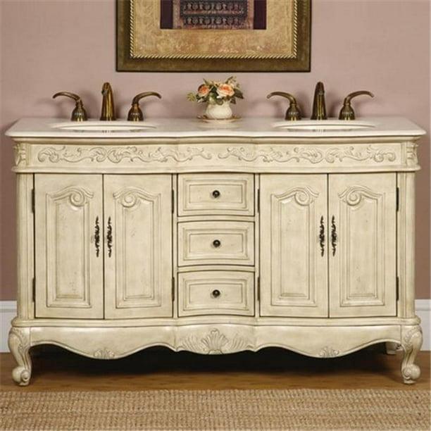 Silkroad Exclusive Traditional Cream Marfil Marble Bathroom Vanity 44 Double Sink 58 In Wide Walmart Com Walmart Com