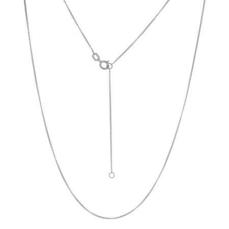 14k White Gold 0.55mm Adjustable Box Chain Necklace With 5mm Spring Lock and Square - 18 Inch