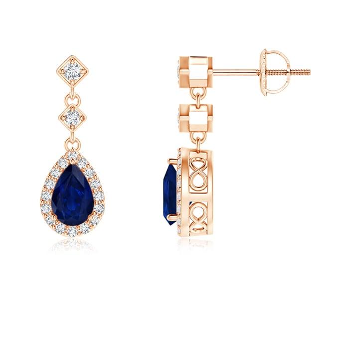 Angara Rose Gold Pear Shaped Sapphire Earrings 63z73pEyRD
