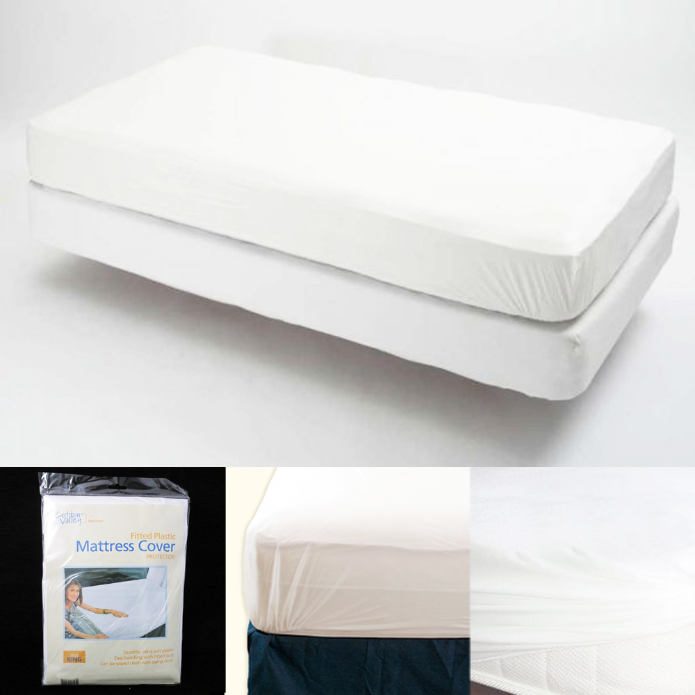 King Size Fitted Mattress Cover Vinyl Waterproof Bug Allergy Protector Bed New !