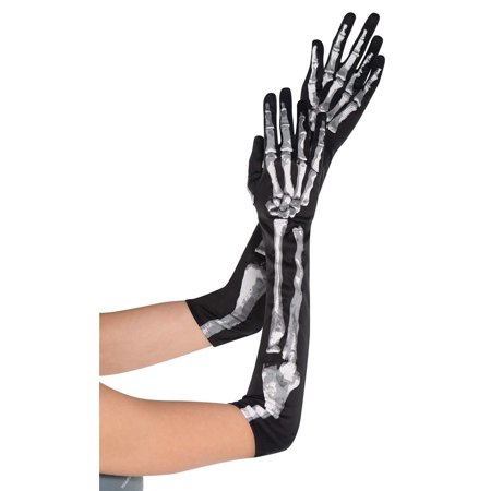 Adult Women Skeleton Costume (Long Skeleton Womens Adult Black White Gloves Costume)