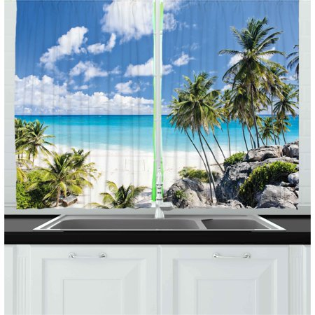 Summer Curtains 2 Panels Set, Bottom Bay Barbados Beach Tropical Palms Ocean Holiday Paradise Coast Charm Picture, Window Drapes for Living Room Bedroom, 55W X 39L Inches, Multicolor, by Ambesonne ()