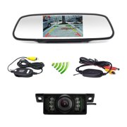 "Podofo Car Backup Camera Wireless 5"" Car TFT LCD Mirror Rear View Monitor with IR Night Vision Waterproof Reverse Camera"