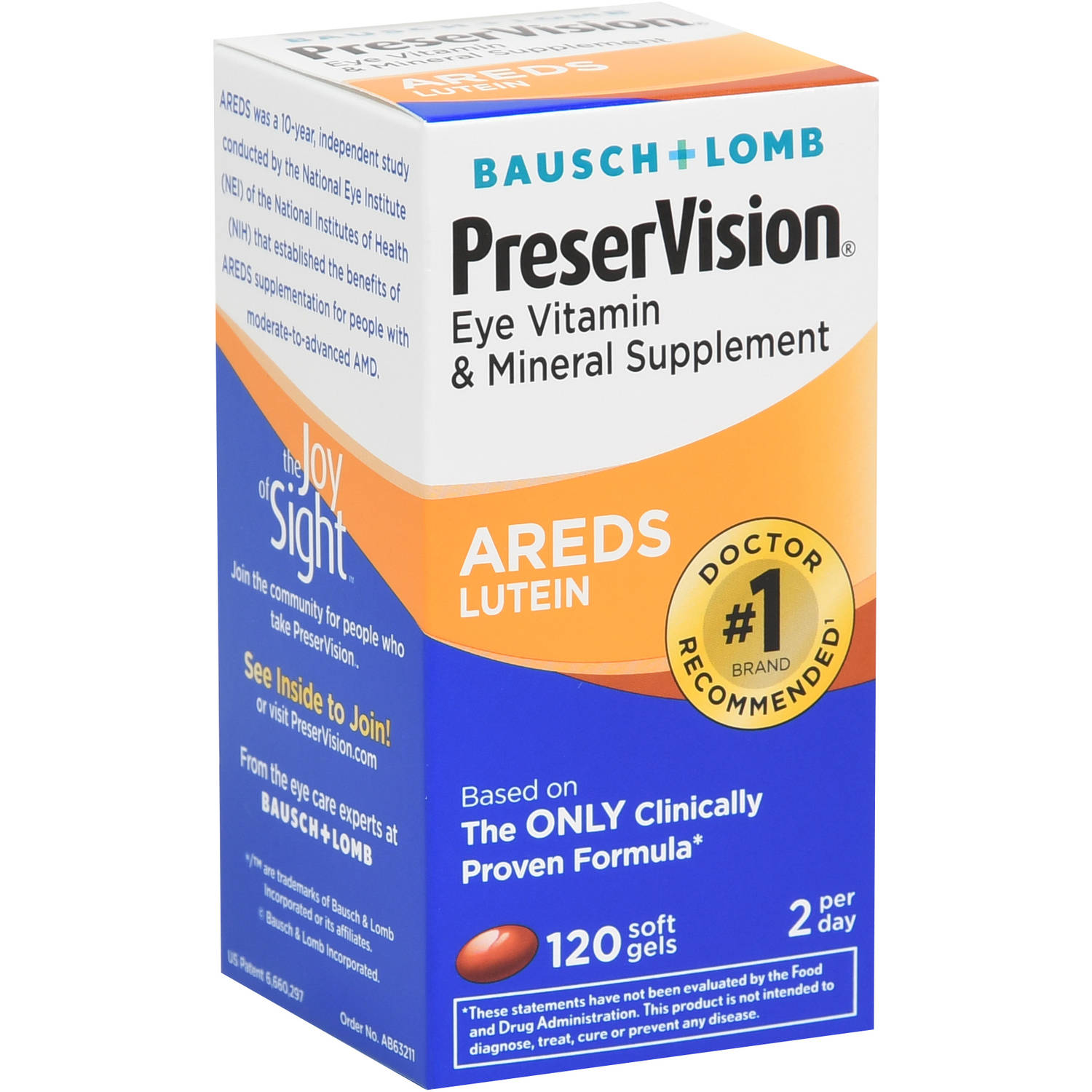 PreserVision Eye Vitamin and Mineral Supplement AREDS 2 Formula contains the exact levels of nutrients recommended by the National Eye Institute to help reduce the risk of progression in people with moderate to advanced Age-related Macular Degeneration (AMD).