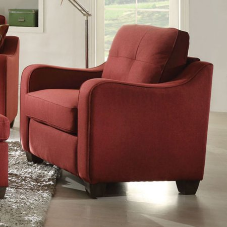 ACME Cleavon II Chair, Red Linen (Acme Furniture Cleavon Ii Red Linen Chair)