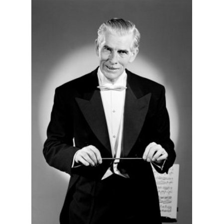 Classical Conductor - Studio portrait of classical music conductor Canvas Art -  (18 x 24)