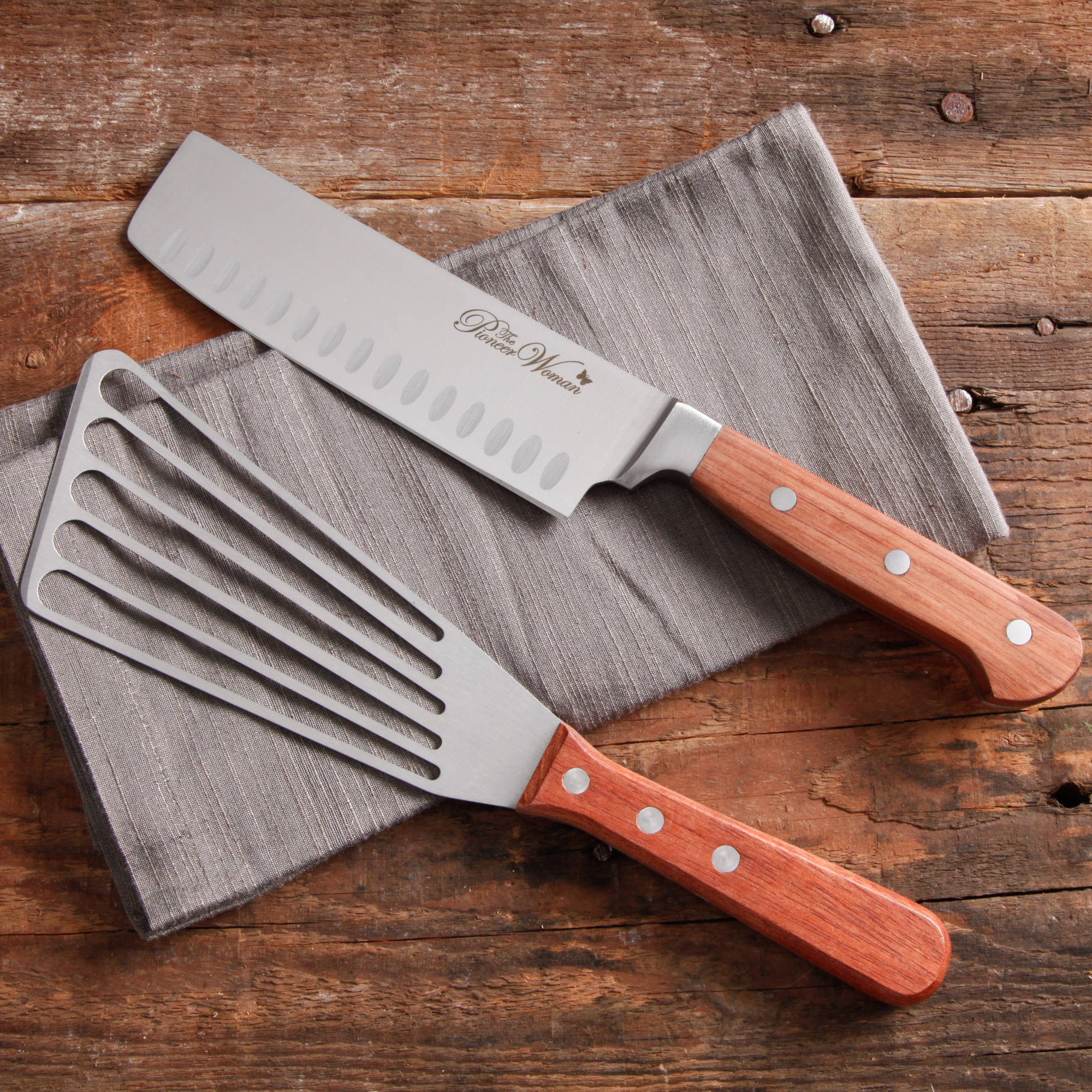 "The Pioneer Woman Cowboy Rustic 2-Pack Signature 6"" Knife and Spatula Set"