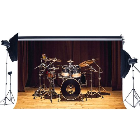 ABPHOTO Polyester 7x5ft Band Concert Backdrop Music Drum Set Interior Backdrops Stage Lights Carpet Retro Wood Floor Photography Background for Draduation Ceremony School Show Photo Studio Props