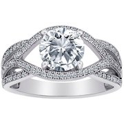MicroPave CZ Ribbon Scroll Ring in Sterling Silver