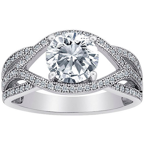 Majestic MicroPave CZ Ribbon Scroll Solitaire Ring in Sterling Silver