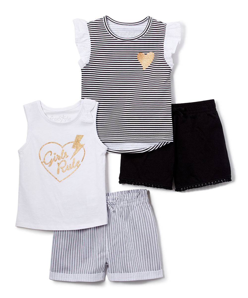 Tank Tops and Shorts, 4pc Outfit Set (Toddler Girls)