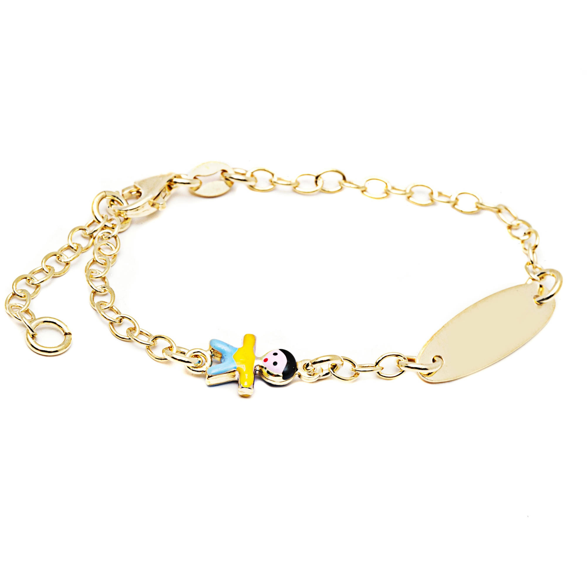 Pori Jewelers 18kt Gold-Plated Sterling Silver ID Baby Bracelet with Enamel Charm, 6