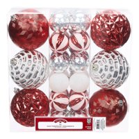 Holiday Time Shatterproof Ornaments, 30-Count, Red Silver White