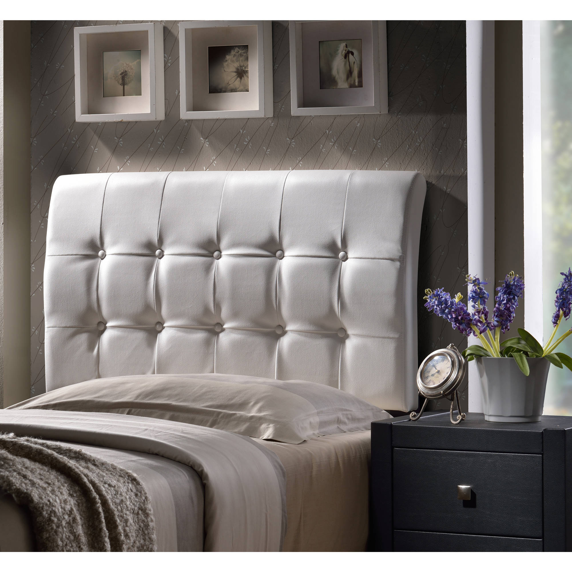 Hillsdale Furniture Lusso Full Headboard, White Faux Leather
