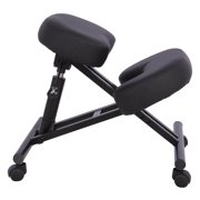 Moustache Ergonomic Adjustable Kneeling Office Chair with Double Thick Padded Foam Steel Frame Knee Stool for Home, Office, and Meditation, Black - 1/Pack