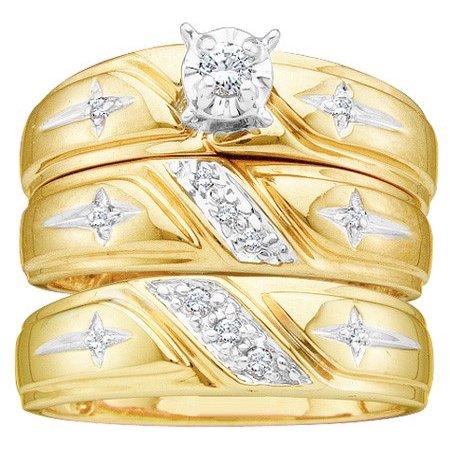 - 10K Yellow Gold 0.20ctw Fancy Stunning Fashion Pave Diamond Trio Set Ring