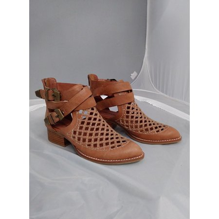 - Jeffrey Campbell Everly Cut Tan Buckle Cut Out Stacked Heel Ankle Bootie (5.5)