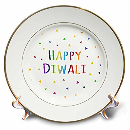3dRose Happy Diwali Hindu festival of light celebration colorful rainbow text, Porcelain Plate, - Rainbow Cups And Plates