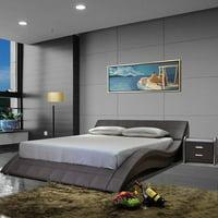 Greatime B1041-1 Wave-like Shape Upholstered Modern Platform Bed, California King, Dark Brown