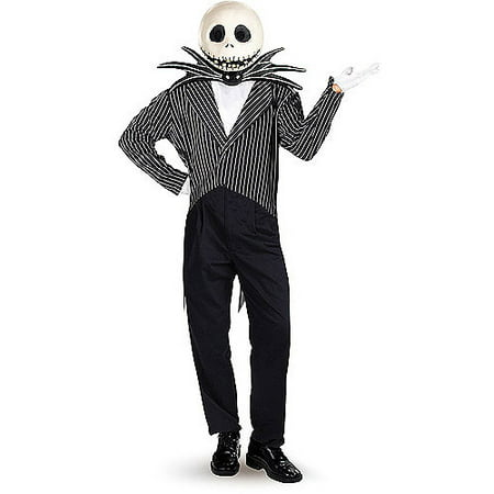 Jack In The Box Head Halloween Costume (Jack Skellington Adult Deluxe Halloween Costume, One)