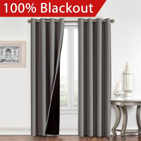 100% BLACKOUT Curtain Set, Thermal Insulated & Energy Efficiency Window Drapery, Lined Silky Performance, Dove Gray Color, Grommet, Set of 2 , W52 x