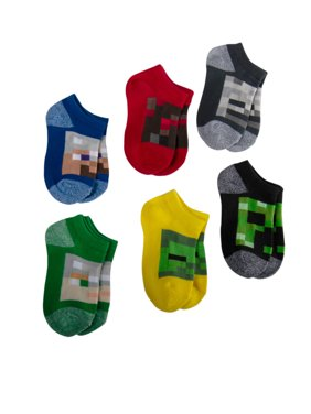 Minecraft Boys Socks, 6 Pack No Show (Little Boys & Big Boys)